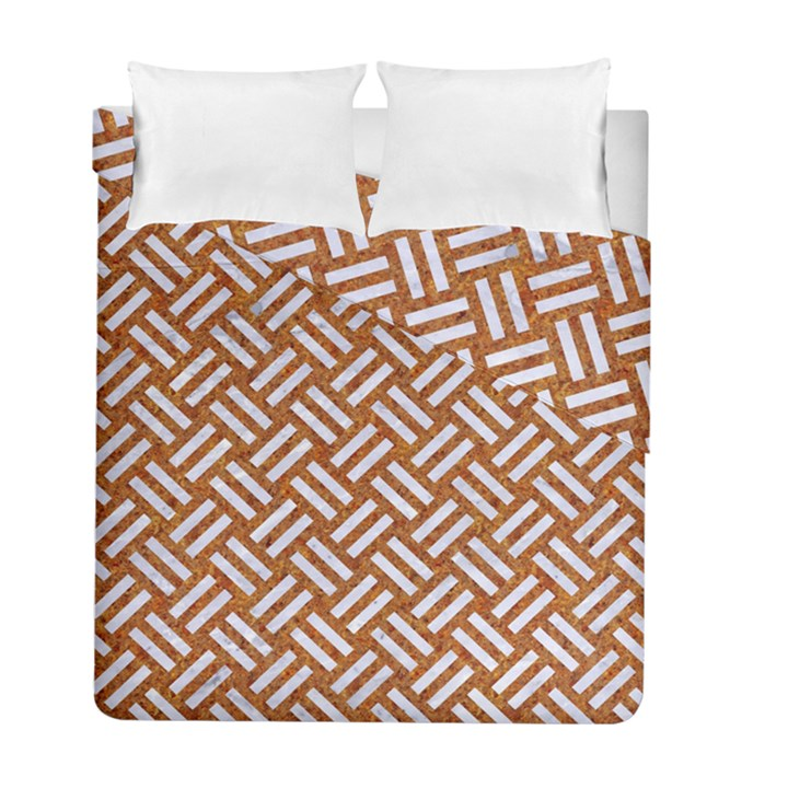 WOVEN2 WHITE MARBLE & RUSTED METAL Duvet Cover Double Side (Full/ Double Size)