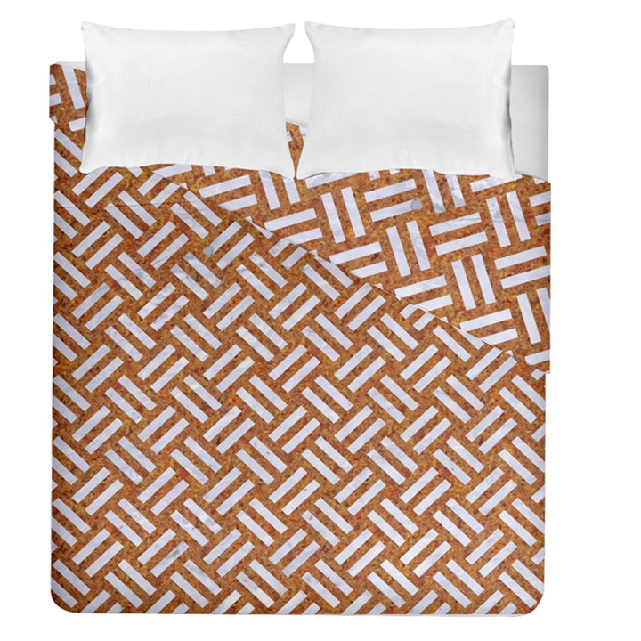 WOVEN2 WHITE MARBLE & RUSTED METAL Duvet Cover Double Side (Queen Size)