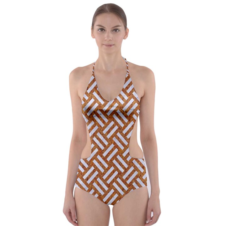 WOVEN2 WHITE MARBLE & RUSTED METAL Cut-Out One Piece Swimsuit
