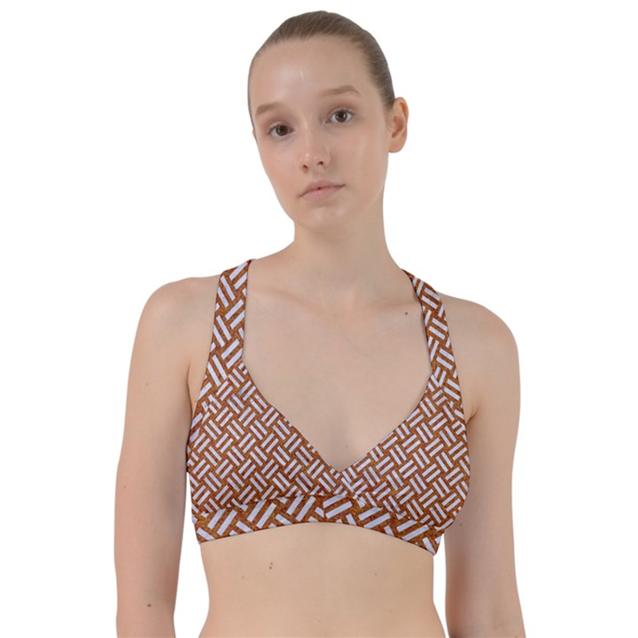 WOVEN2 WHITE MARBLE & RUSTED METAL Sweetheart Sports Bra