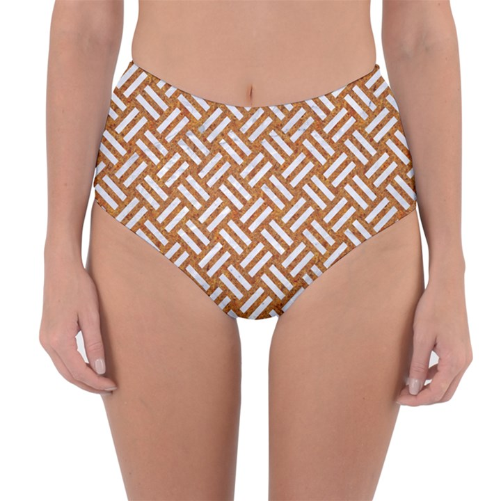 WOVEN2 WHITE MARBLE & RUSTED METAL Reversible High-Waist Bikini Bottoms