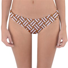 Woven2 White Marble & Rusted Metal Reversible Hipster Bikini Bottoms