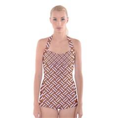 Woven2 White Marble & Rusted Metal Boyleg Halter Swimsuit