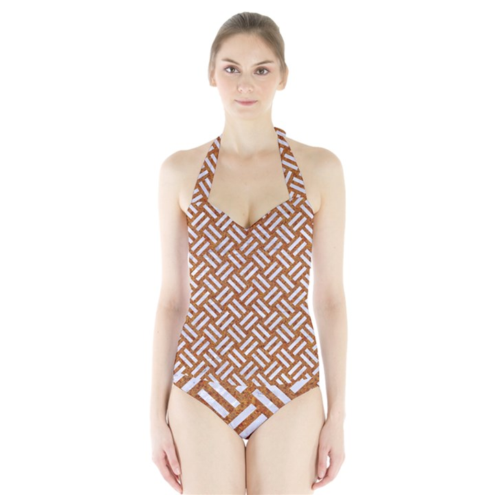 WOVEN2 WHITE MARBLE & RUSTED METAL Halter Swimsuit