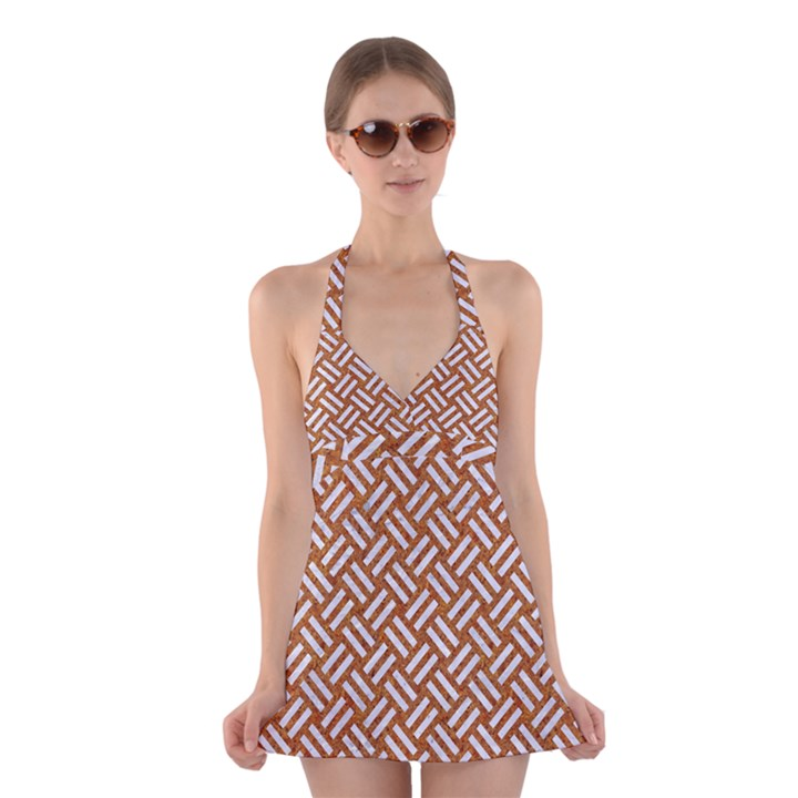 WOVEN2 WHITE MARBLE & RUSTED METAL Halter Dress Swimsuit