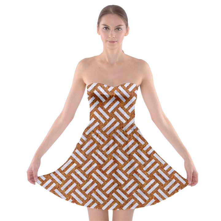 WOVEN2 WHITE MARBLE & RUSTED METAL Strapless Bra Top Dress