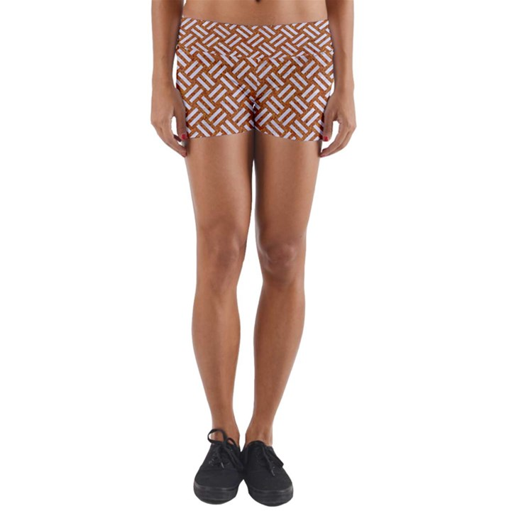 WOVEN2 WHITE MARBLE & RUSTED METAL Yoga Shorts