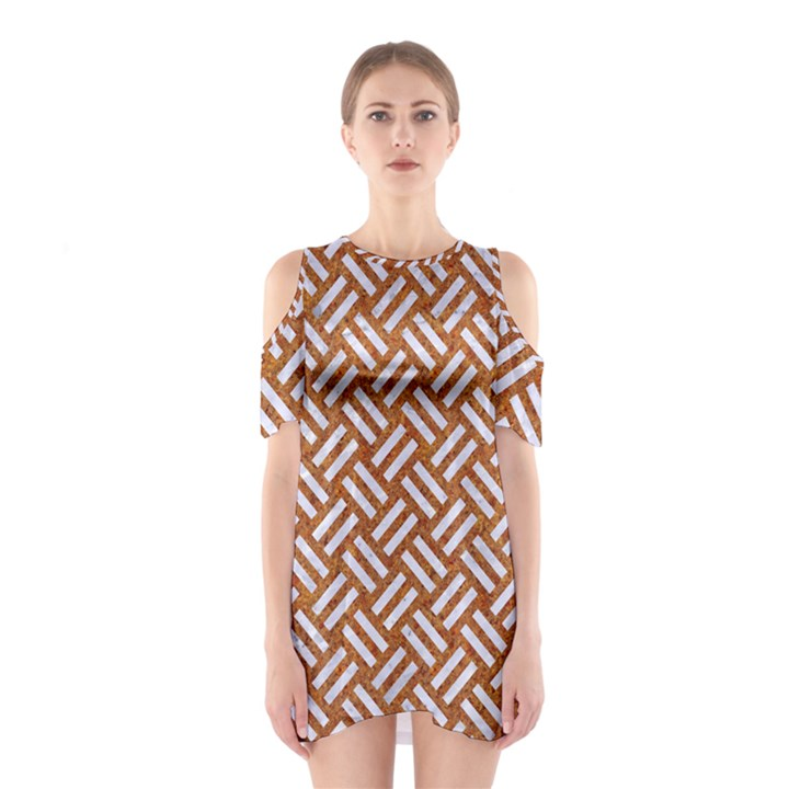 WOVEN2 WHITE MARBLE & RUSTED METAL Shoulder Cutout One Piece