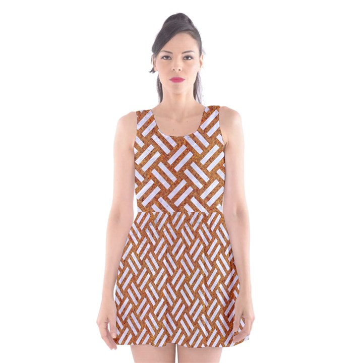 WOVEN2 WHITE MARBLE & RUSTED METAL Scoop Neck Skater Dress
