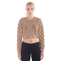 Woven2 White Marble & Rusted Metal Cropped Sweatshirt