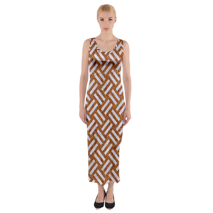 WOVEN2 WHITE MARBLE & RUSTED METAL Fitted Maxi Dress