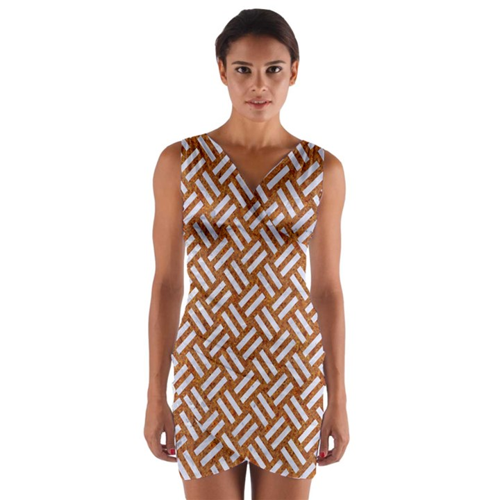 WOVEN2 WHITE MARBLE & RUSTED METAL Wrap Front Bodycon Dress