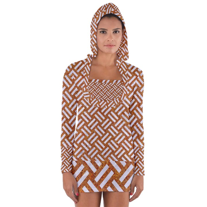 WOVEN2 WHITE MARBLE & RUSTED METAL Long Sleeve Hooded T-shirt