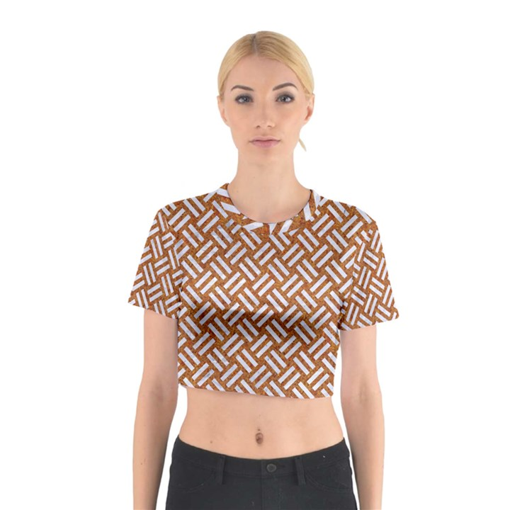 WOVEN2 WHITE MARBLE & RUSTED METAL Cotton Crop Top