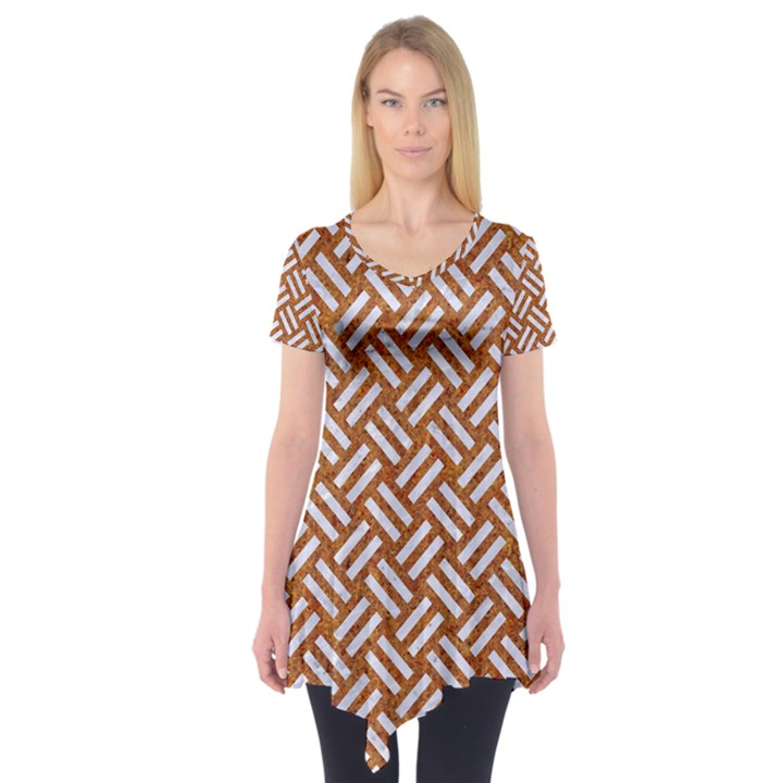 WOVEN2 WHITE MARBLE & RUSTED METAL Short Sleeve Tunic