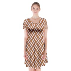 Woven2 White Marble & Rusted Metal Short Sleeve V Neck Flare Dress