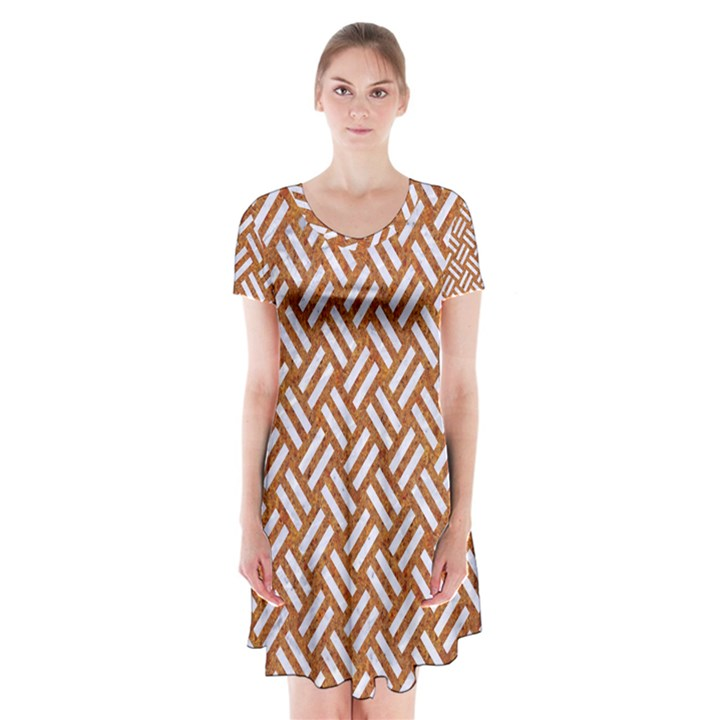 WOVEN2 WHITE MARBLE & RUSTED METAL Short Sleeve V-neck Flare Dress