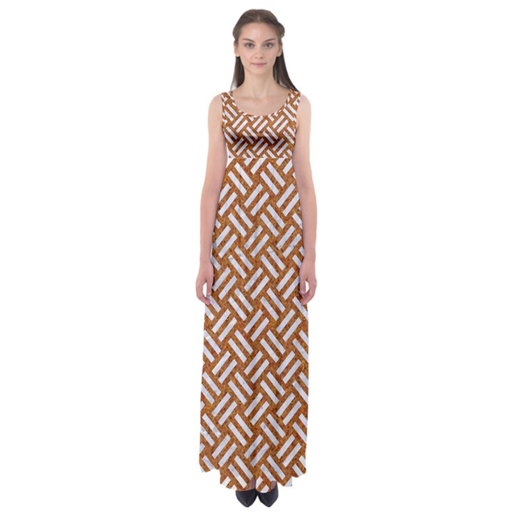 WOVEN2 WHITE MARBLE & RUSTED METAL Empire Waist Maxi Dress