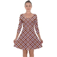 Woven2 White Marble & Rusted Metal Quarter Sleeve Skater Dress