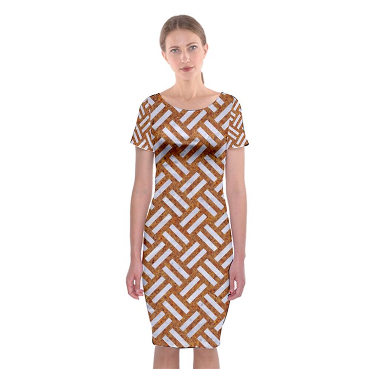 WOVEN2 WHITE MARBLE & RUSTED METAL Classic Short Sleeve Midi Dress