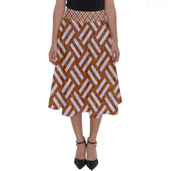 WOVEN2 WHITE MARBLE & RUSTED METAL Perfect Length Midi Skirt