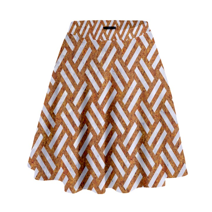 WOVEN2 WHITE MARBLE & RUSTED METAL High Waist Skirt
