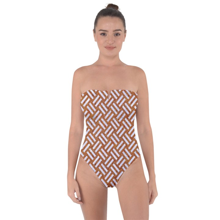 WOVEN2 WHITE MARBLE & RUSTED METAL Tie Back One Piece Swimsuit