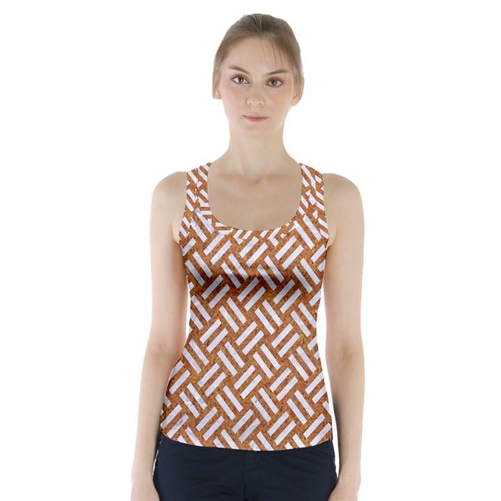 WOVEN2 WHITE MARBLE & RUSTED METAL Racer Back Sports Top