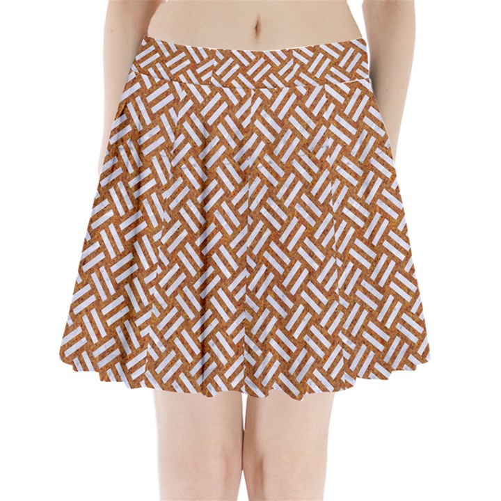 WOVEN2 WHITE MARBLE & RUSTED METAL Pleated Mini Skirt