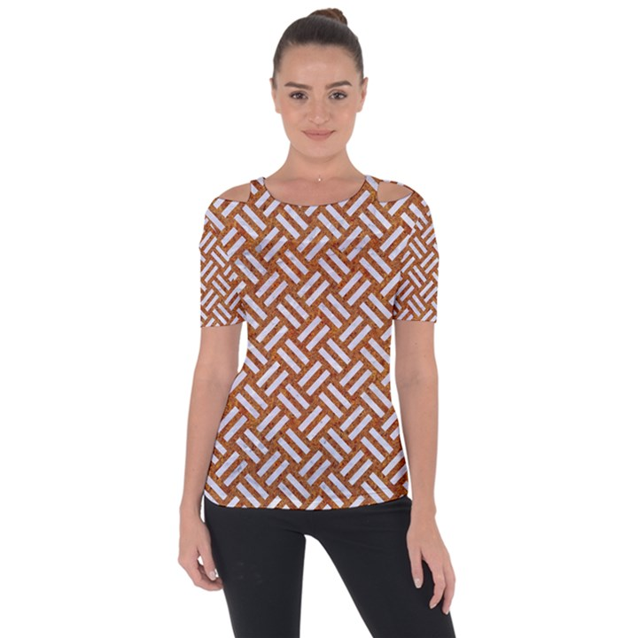 WOVEN2 WHITE MARBLE & RUSTED METAL Short Sleeve Top