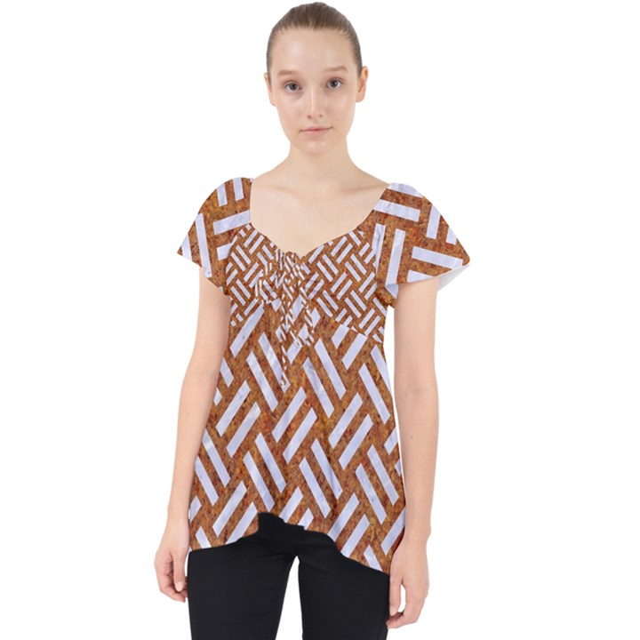 WOVEN2 WHITE MARBLE & RUSTED METAL Lace Front Dolly Top