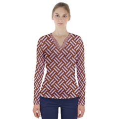 Woven2 White Marble & Rusted Metal V Neck Long Sleeve Top