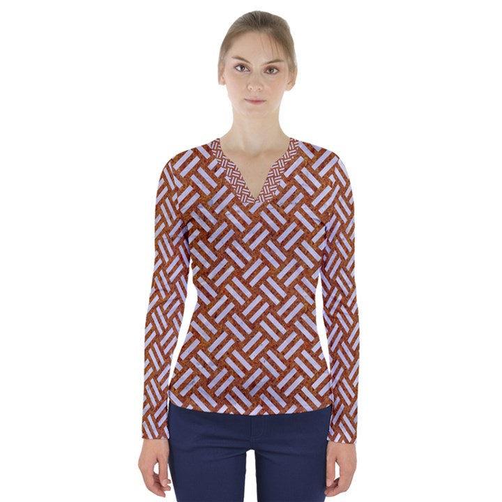 WOVEN2 WHITE MARBLE & RUSTED METAL V-Neck Long Sleeve Top