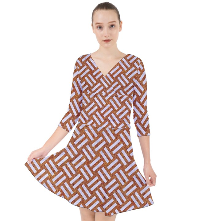 WOVEN2 WHITE MARBLE & RUSTED METAL Quarter Sleeve Front Wrap Dress