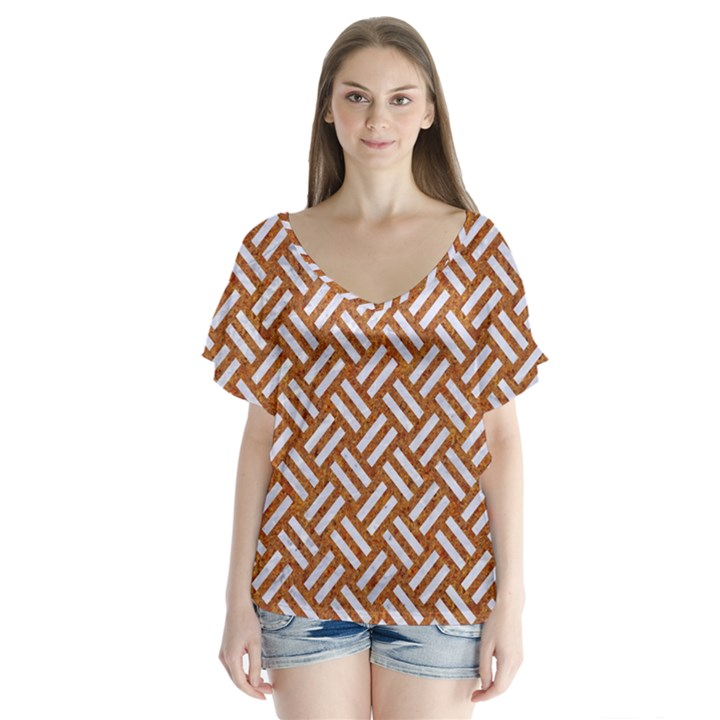 WOVEN2 WHITE MARBLE & RUSTED METAL V-Neck Flutter Sleeve Top