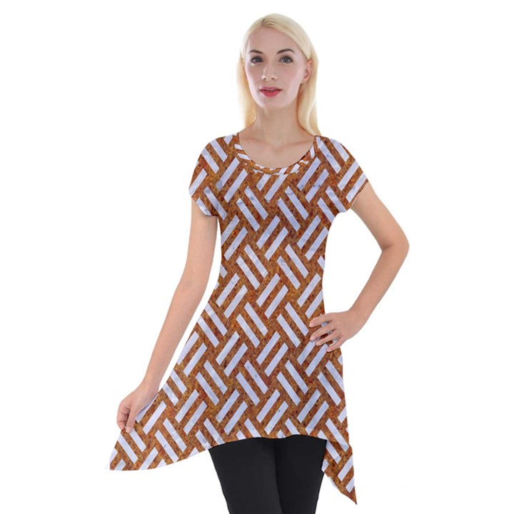 WOVEN2 WHITE MARBLE & RUSTED METAL Short Sleeve Side Drop Tunic