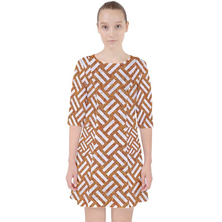 WOVEN2 WHITE MARBLE & RUSTED METAL Pocket Dress