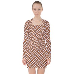 Woven2 White Marble & Rusted Metal V Neck Bodycon Long Sleeve Dress