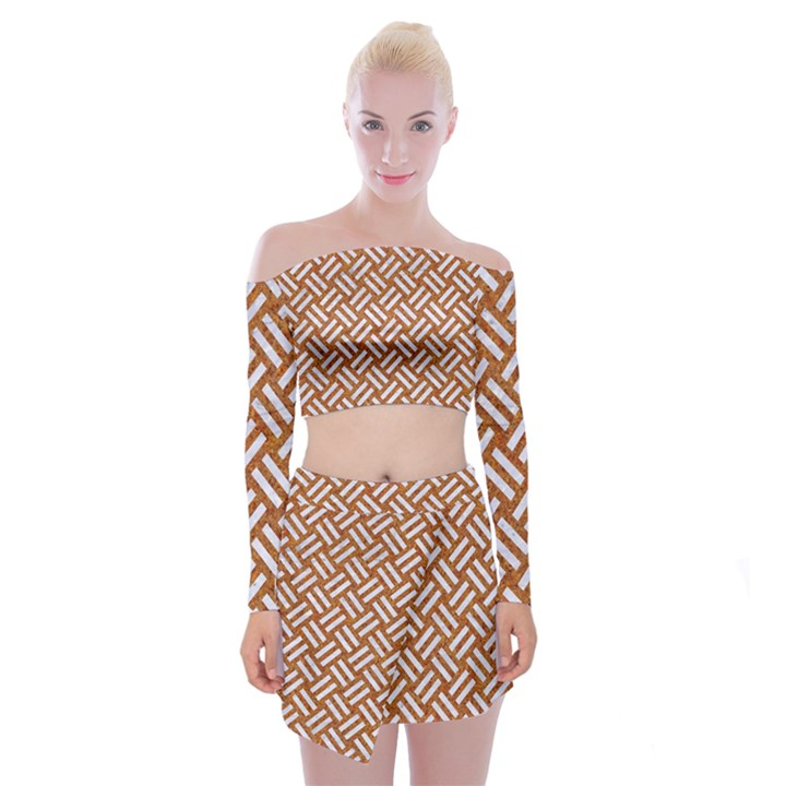 WOVEN2 WHITE MARBLE & RUSTED METAL Off Shoulder Top with Mini Skirt Set