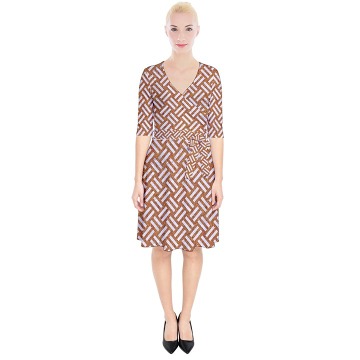 WOVEN2 WHITE MARBLE & RUSTED METAL Wrap Up Cocktail Dress