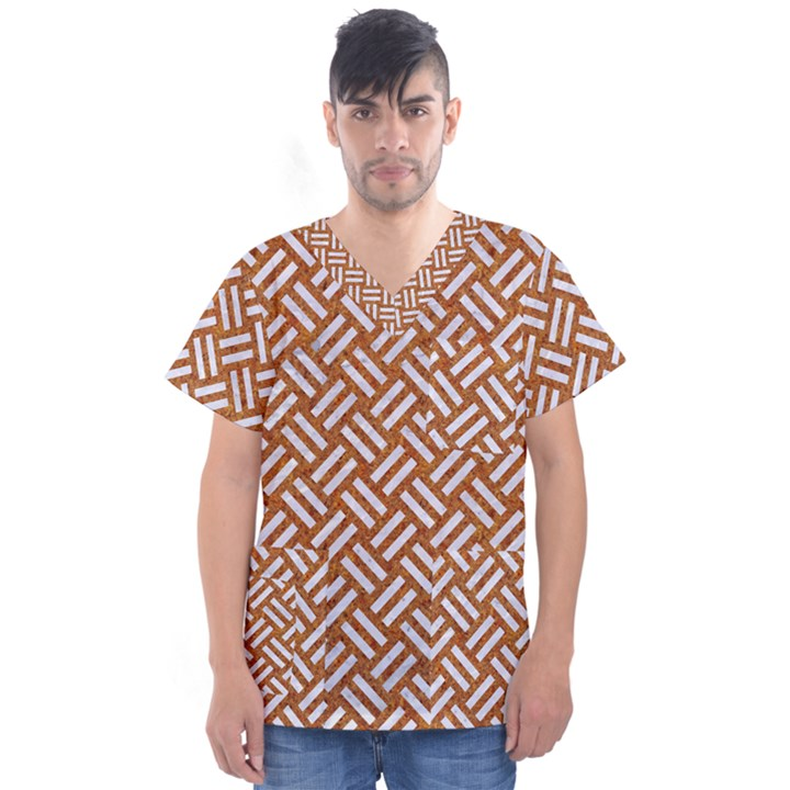 WOVEN2 WHITE MARBLE & RUSTED METAL Men s V-Neck Scrub Top