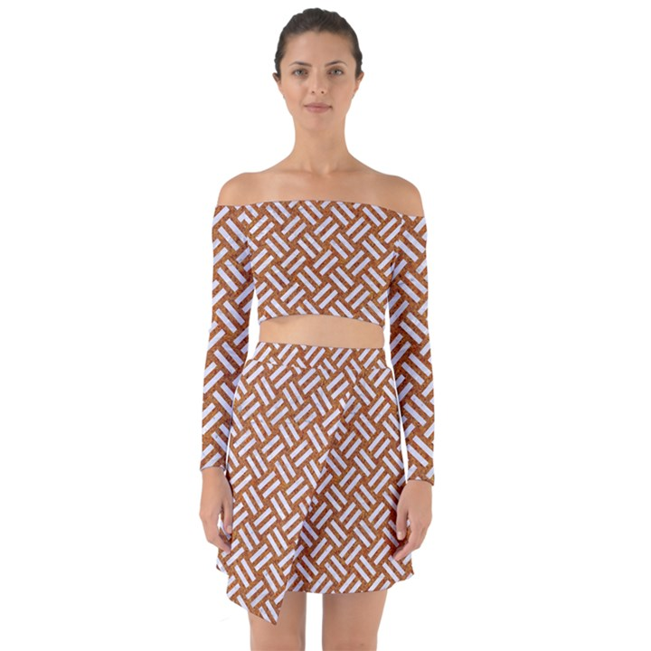 WOVEN2 WHITE MARBLE & RUSTED METAL Off Shoulder Top with Skirt Set