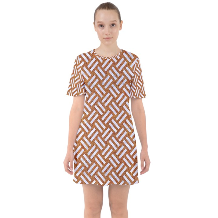 WOVEN2 WHITE MARBLE & RUSTED METAL Sixties Short Sleeve Mini Dress