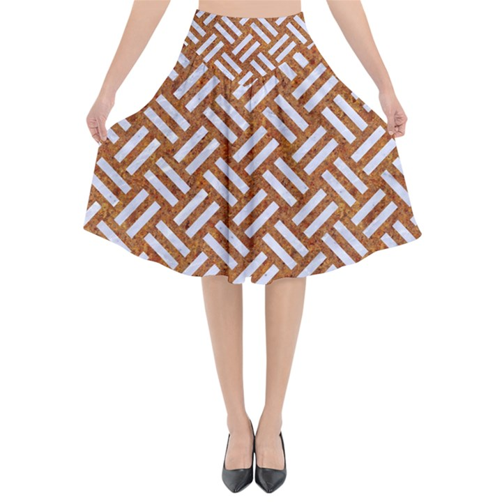 WOVEN2 WHITE MARBLE & RUSTED METAL Flared Midi Skirt