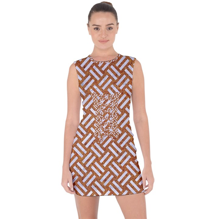 WOVEN2 WHITE MARBLE & RUSTED METAL Lace Up Front Bodycon Dress