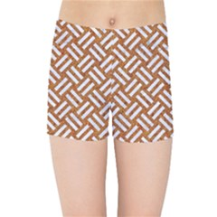 Woven2 White Marble & Rusted Metal Kids Sports Shorts