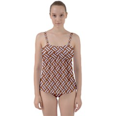 Woven2 White Marble & Rusted Metal Twist Front Tankini Set