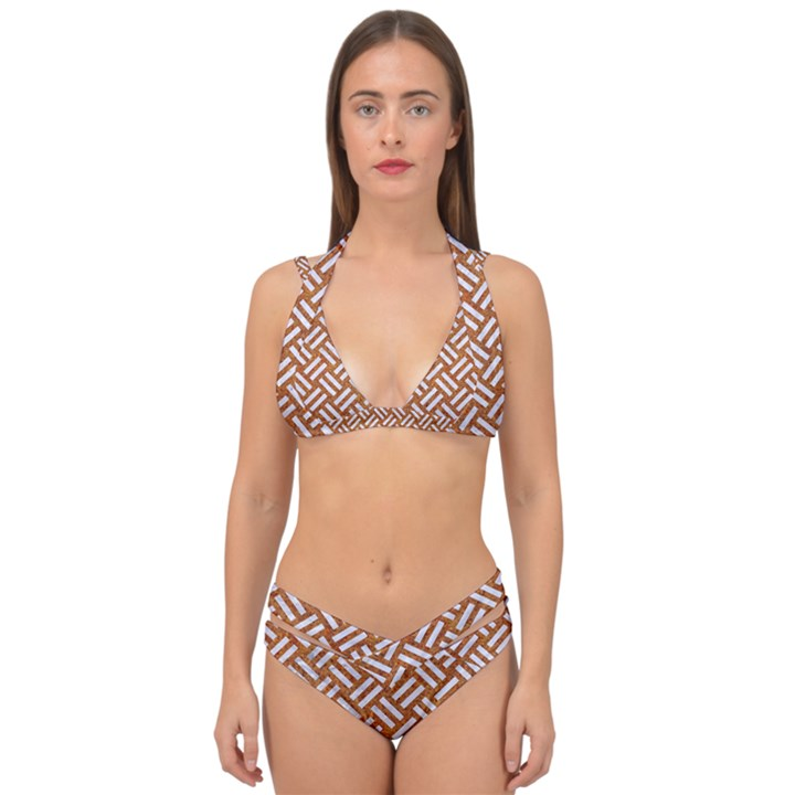 WOVEN2 WHITE MARBLE & RUSTED METAL Double Strap Halter Bikini Set