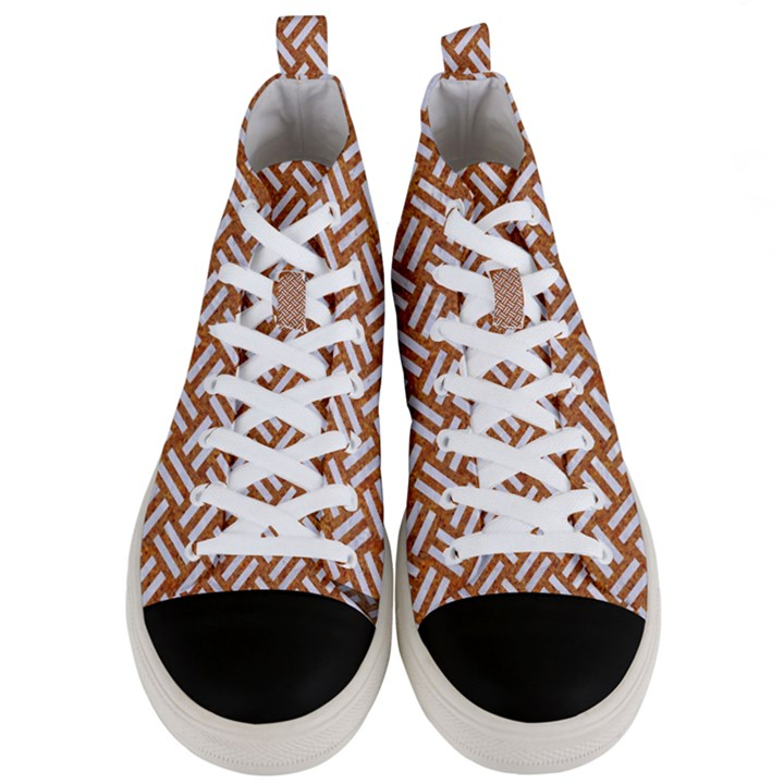 WOVEN2 WHITE MARBLE & RUSTED METAL Men s Mid-Top Canvas Sneakers