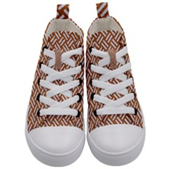Woven2 White Marble & Rusted Metal Kid s Mid Top Canvas Sneakers